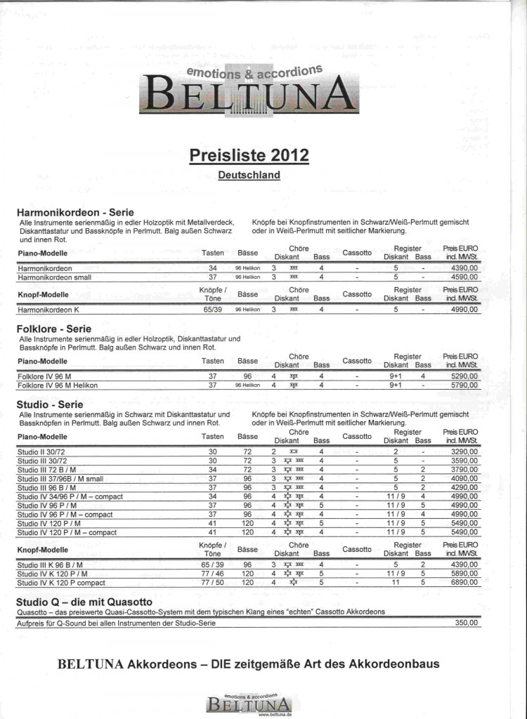 Beltuna. Цена, Preisliste