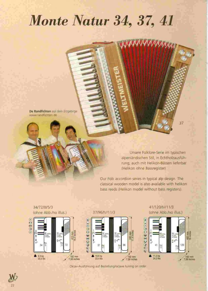 Weltmeister, фольклорный аккордеон Monte Natur, аккордеон из дерева