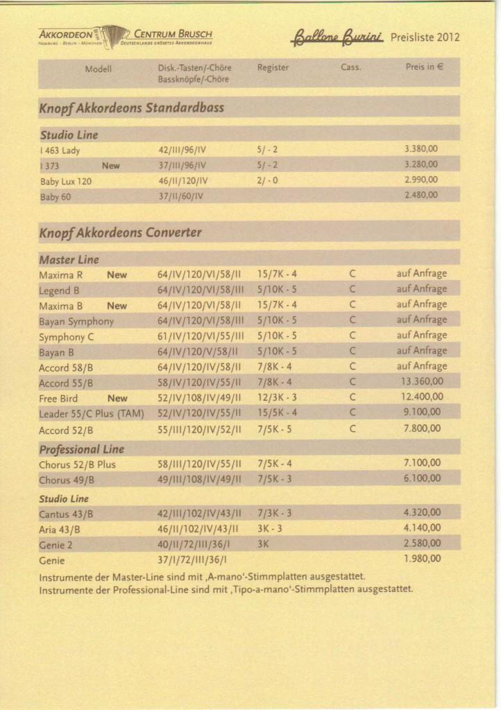 Аккордеоны и баяны Ballone Burini. Цена