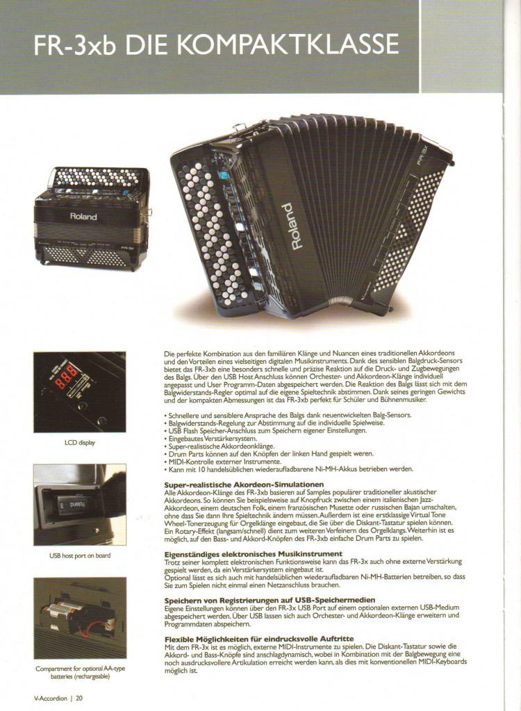 Roland,цифровой баян FR-3xb компактный