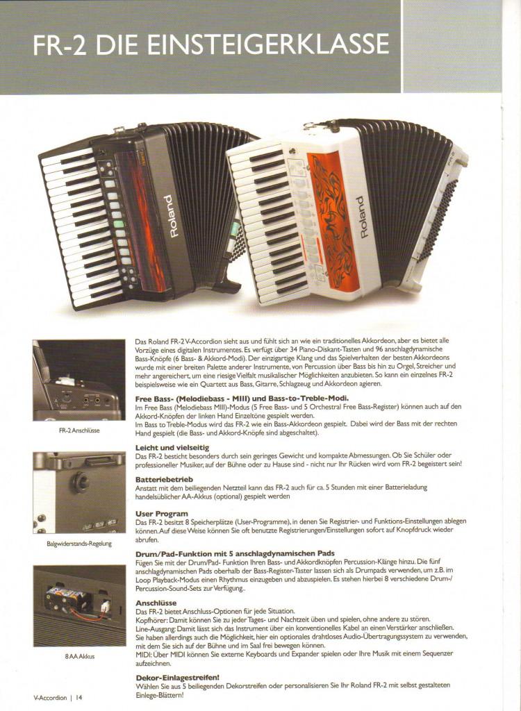 Roland, цифровой аккордеон для начинающих FR-2
