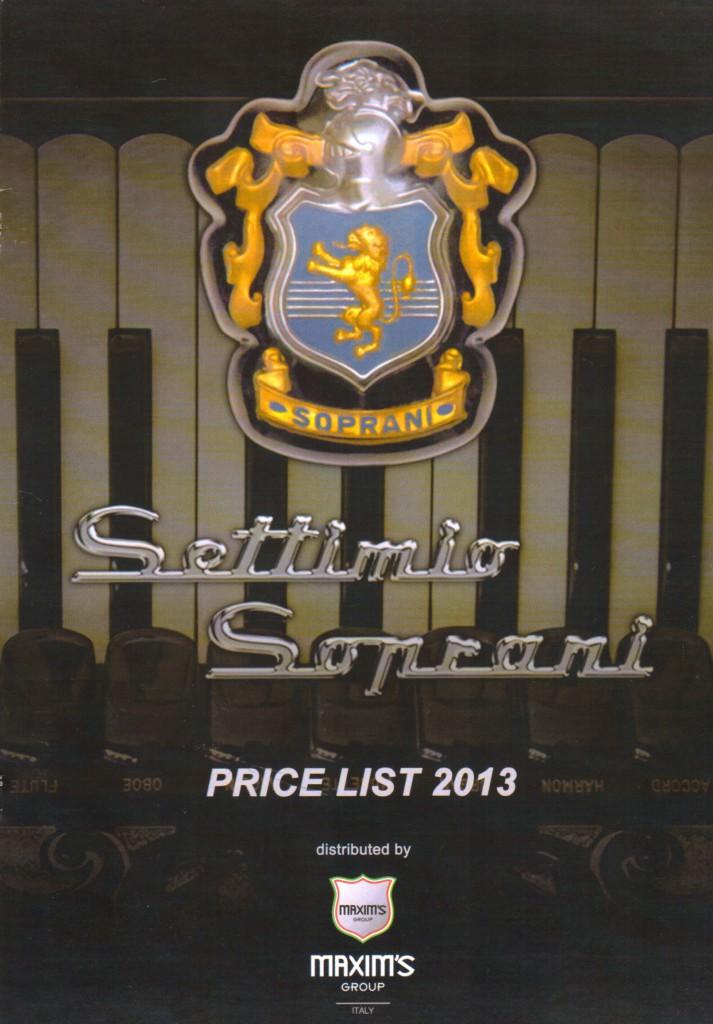 Settimio Soprani, цена, Price List 2013