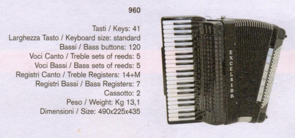 Excelsior, Стандартный аккордеон