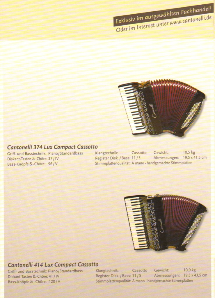 Cantonelli. Аккордеоны Lux Compact Cassotto