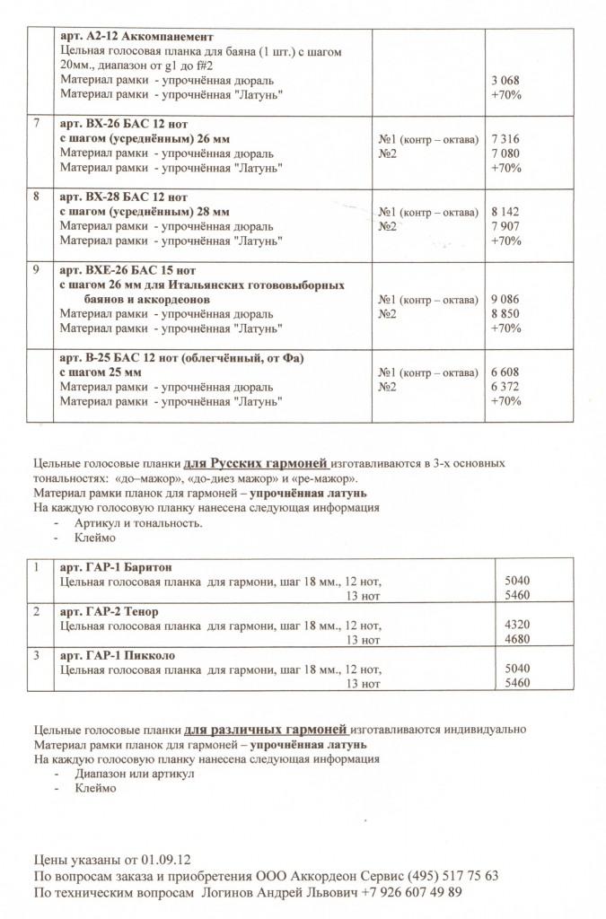 Голосовые планки Музпром, цена