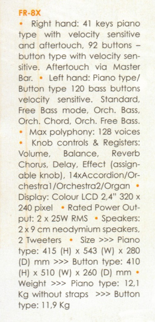 Цифровой баян FR-8Xb и цифровой аккордеон FR-8X